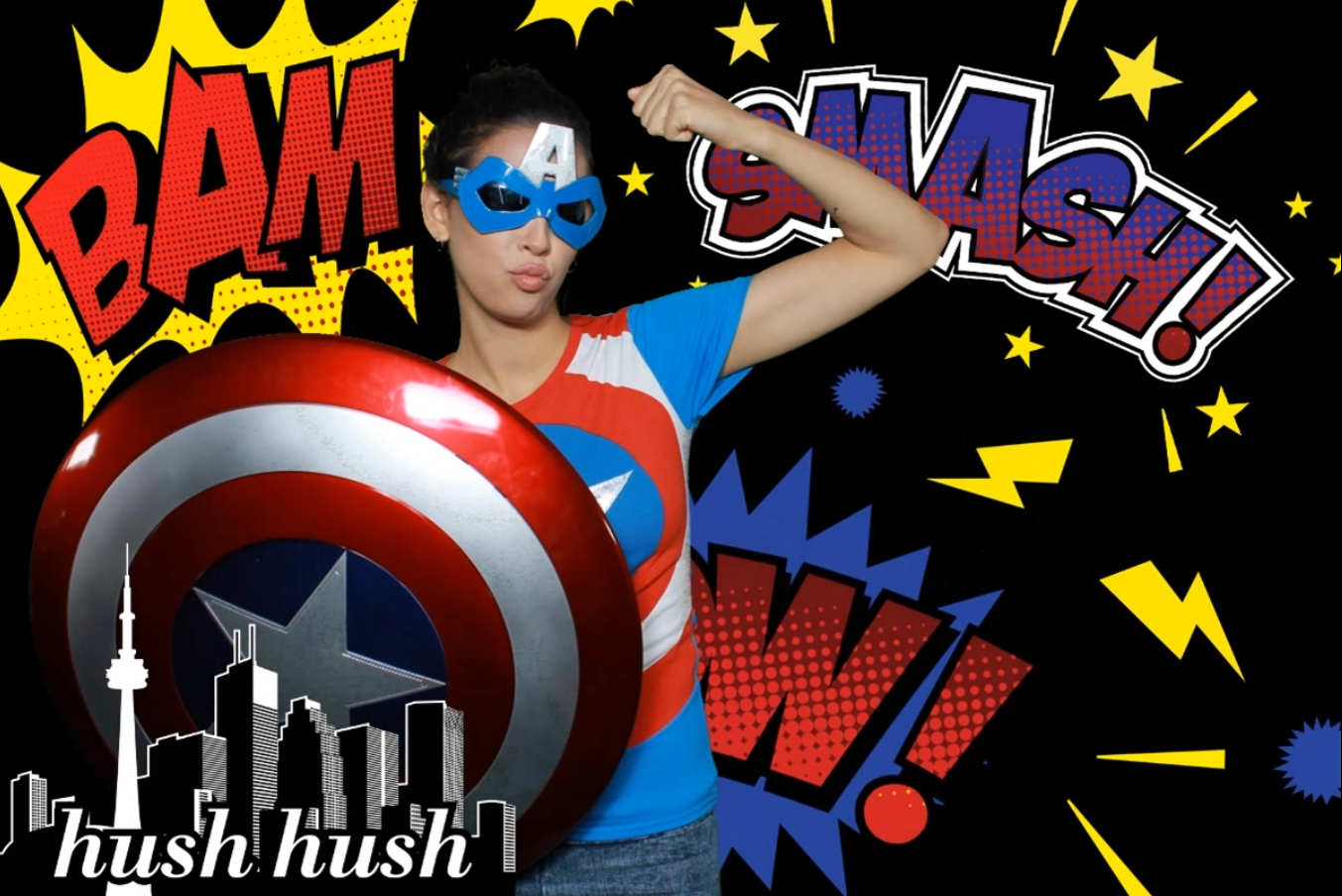 hush hush super hero photo infinity photo booth