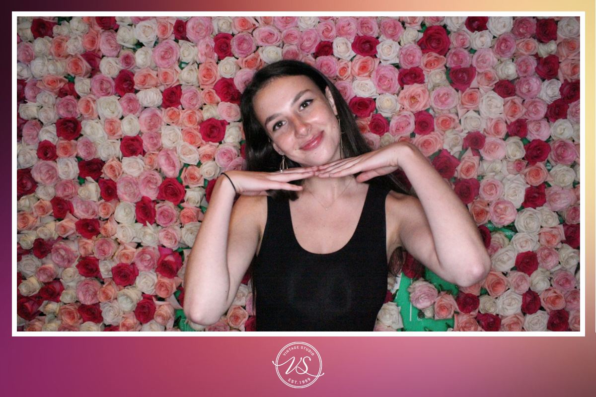 vintage studio rose backdrop glo booth photo with custom graphic